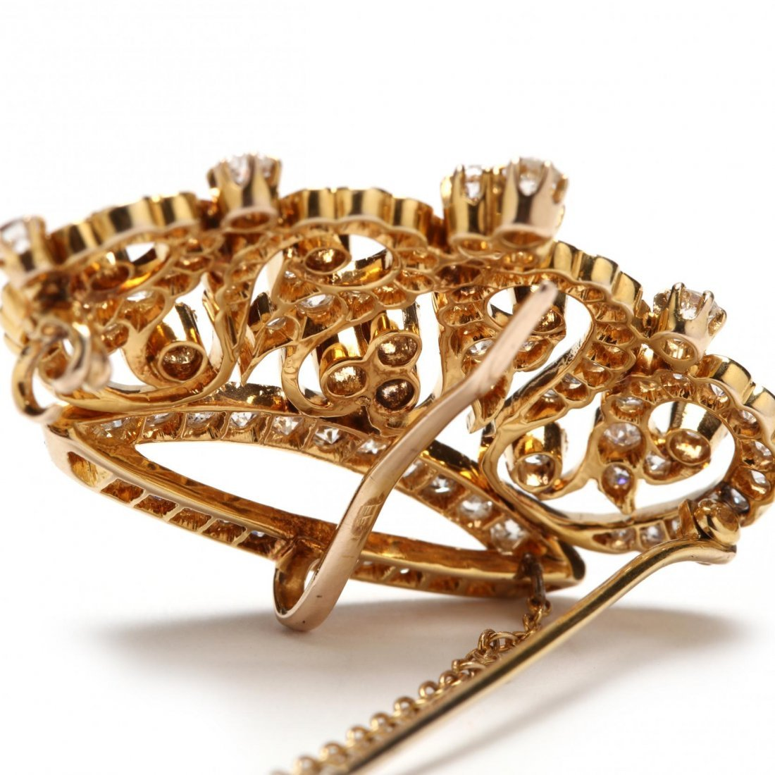 14KT Gold and Diamond Crown Brooch - 3