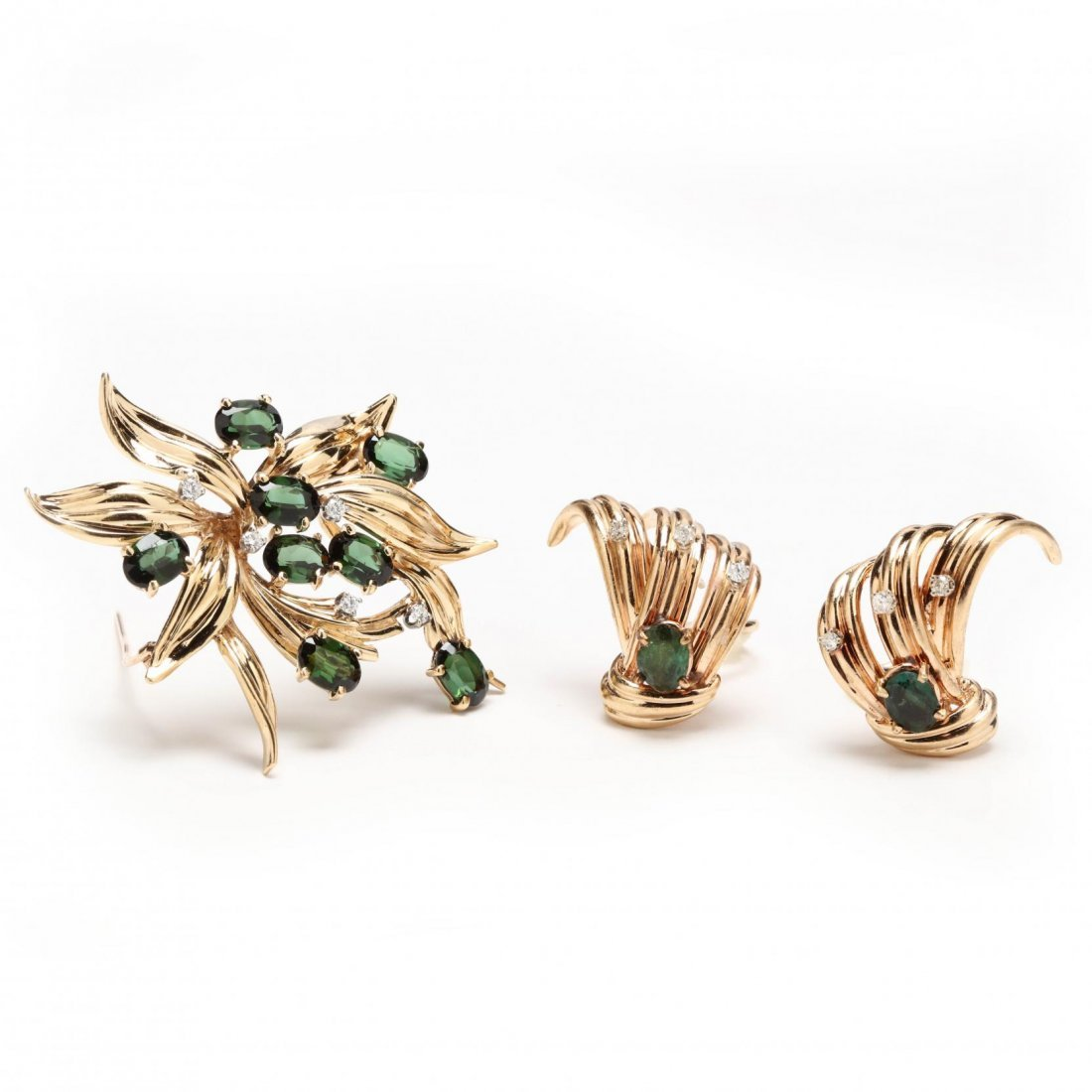 14KT Gold, Green Tourmaline, and Diamond Suite