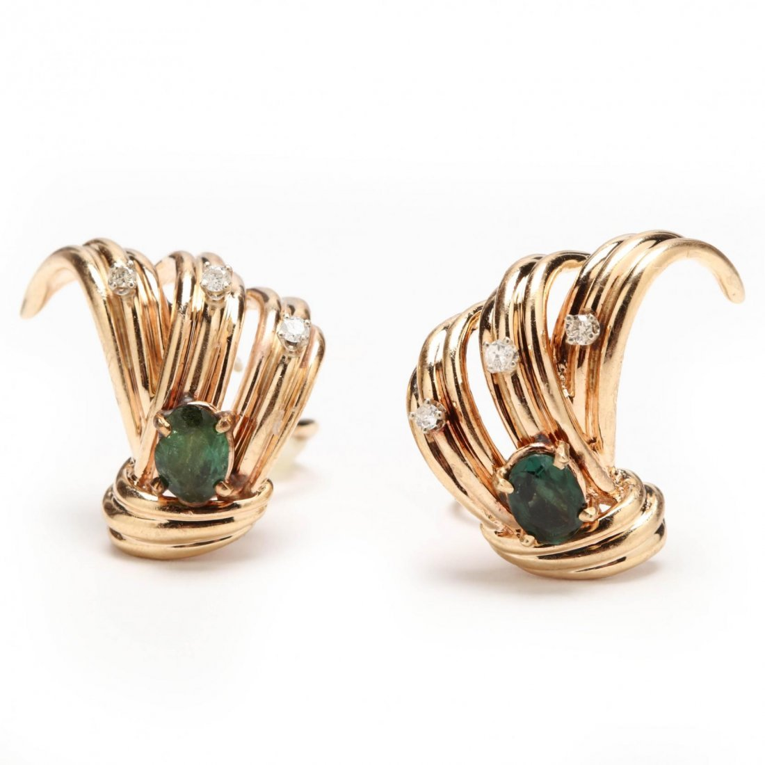 14KT Gold, Green Tourmaline, and Diamond Suite - 2