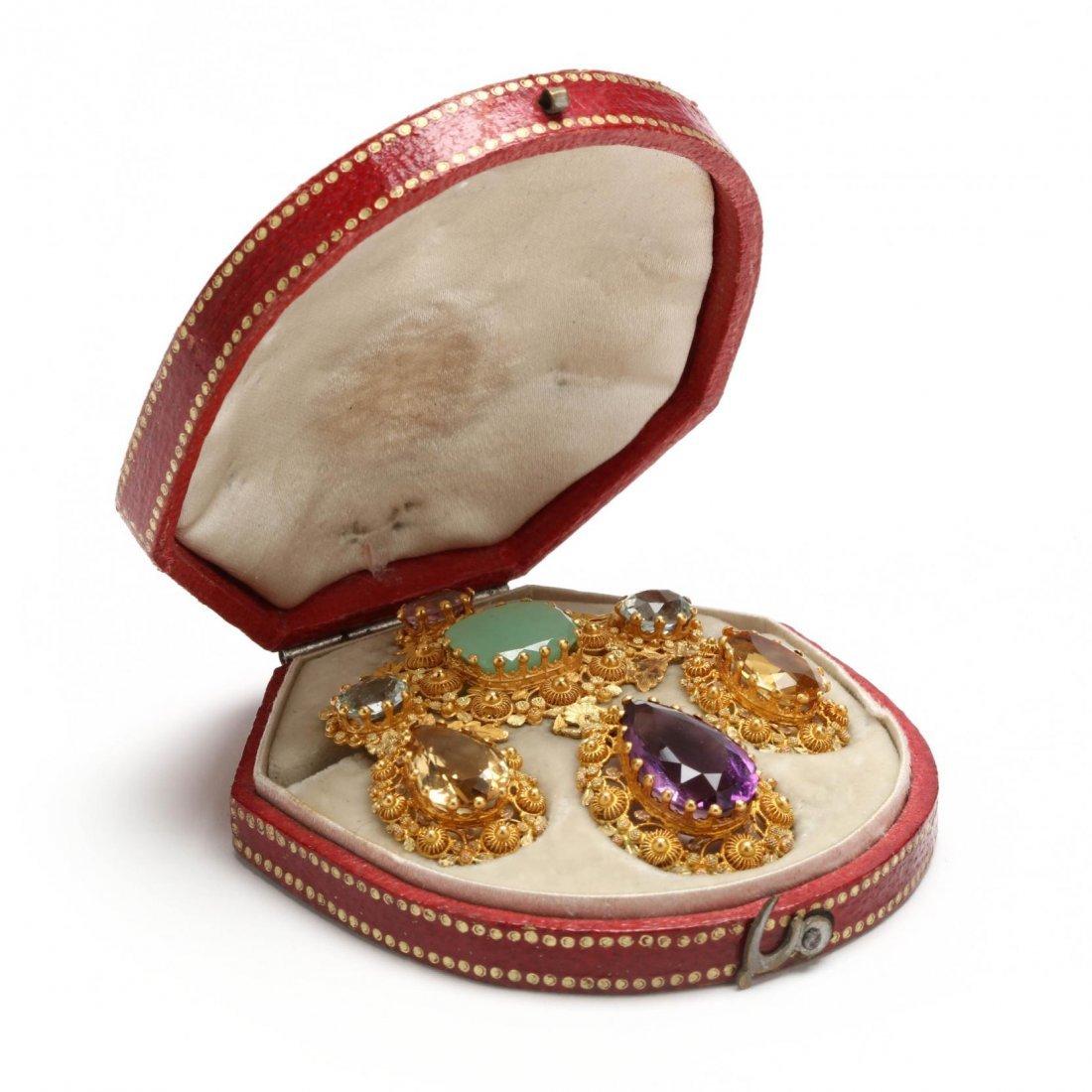 Antique Gold Cannetille and Gem Set Brooch - 3