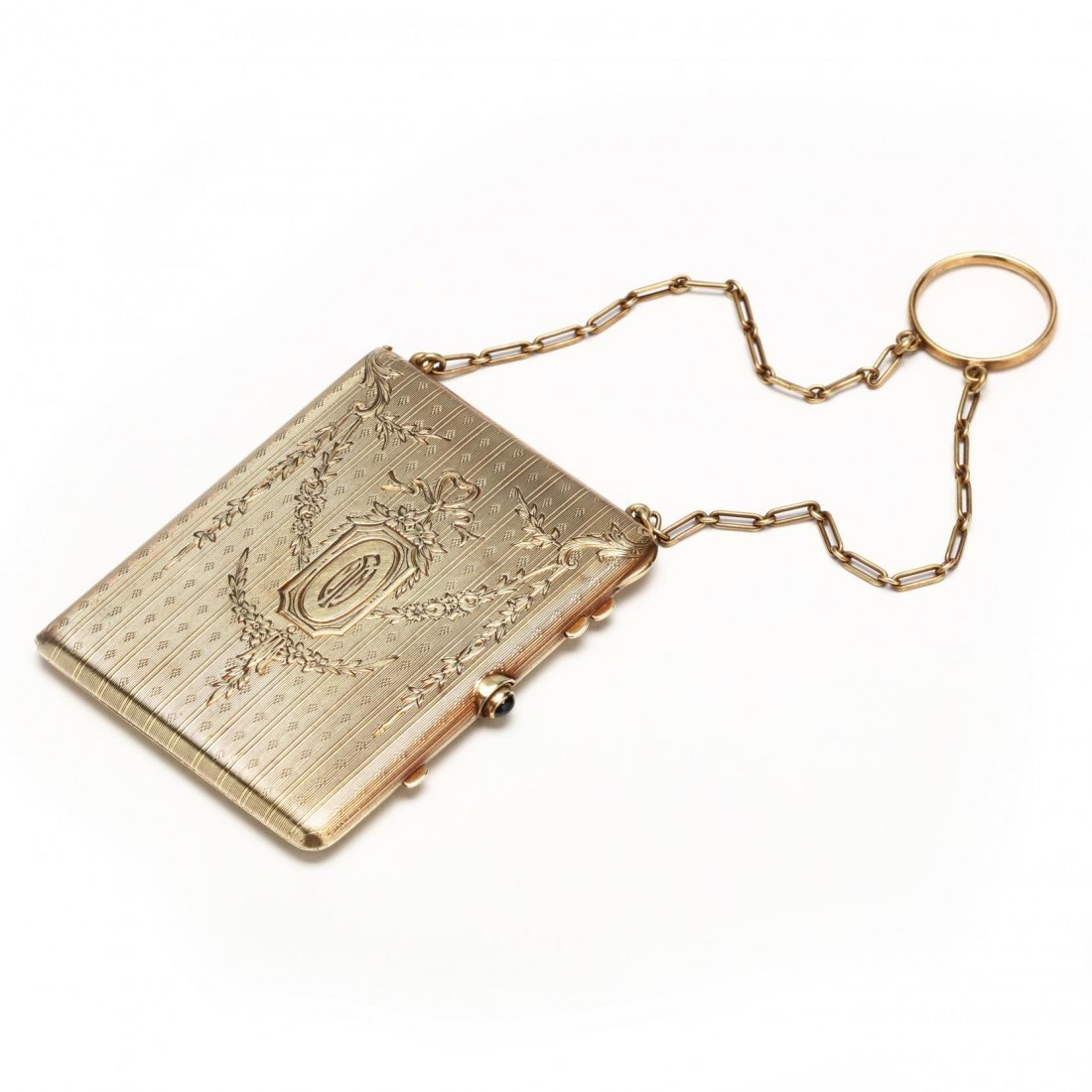Edwardian 14KT Compact with Chain and Ring, Tiffany &