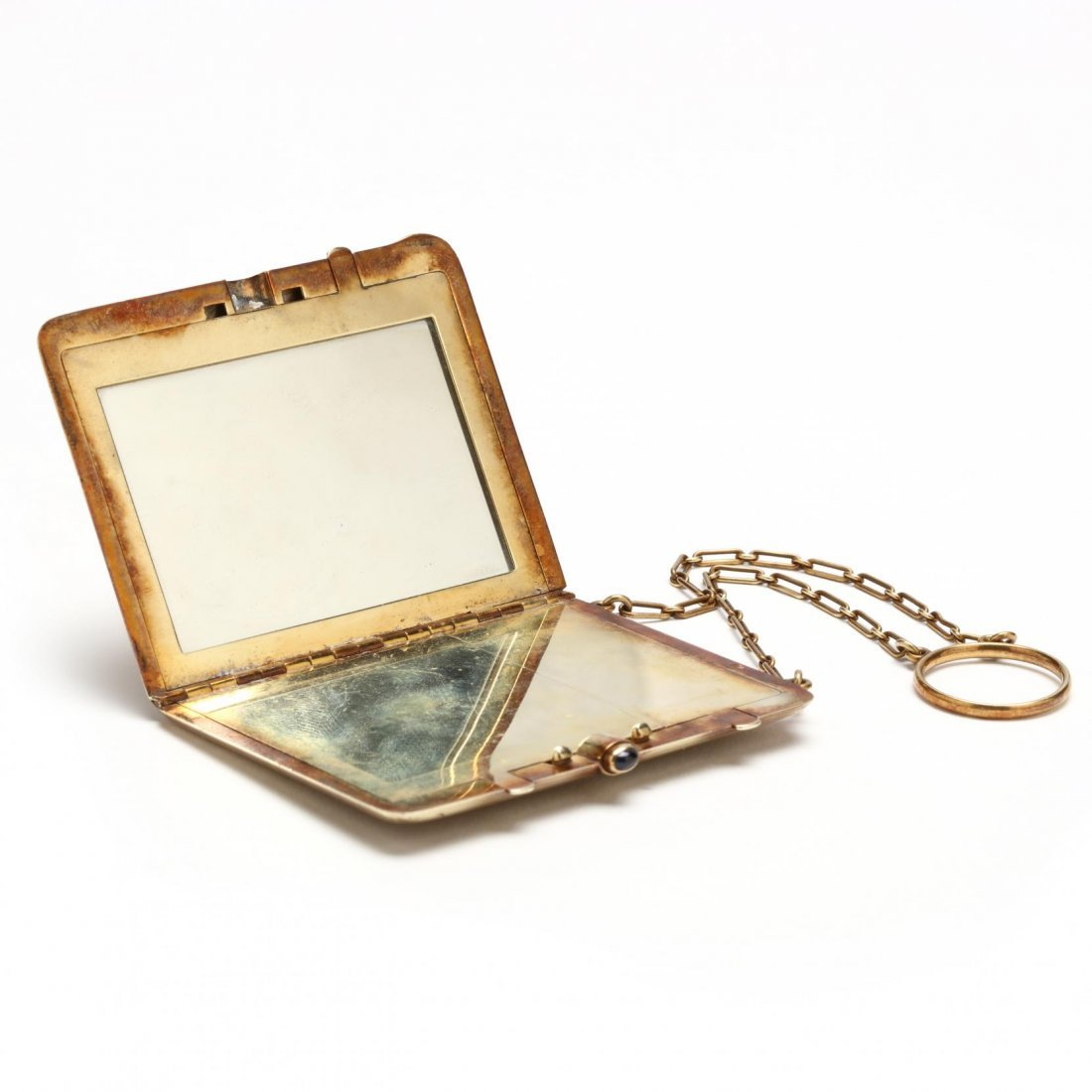Edwardian 14KT Compact with Chain and Ring, Tiffany & - 4