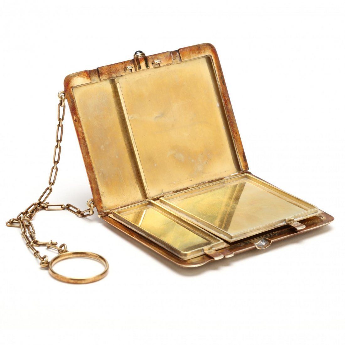 Edwardian 14KT Compact with Chain and Ring, Tiffany & - 5