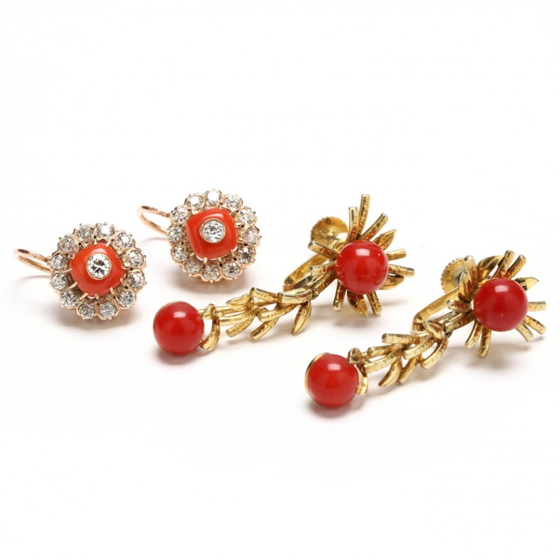 Two Pairs of Vintage Coral Earrings