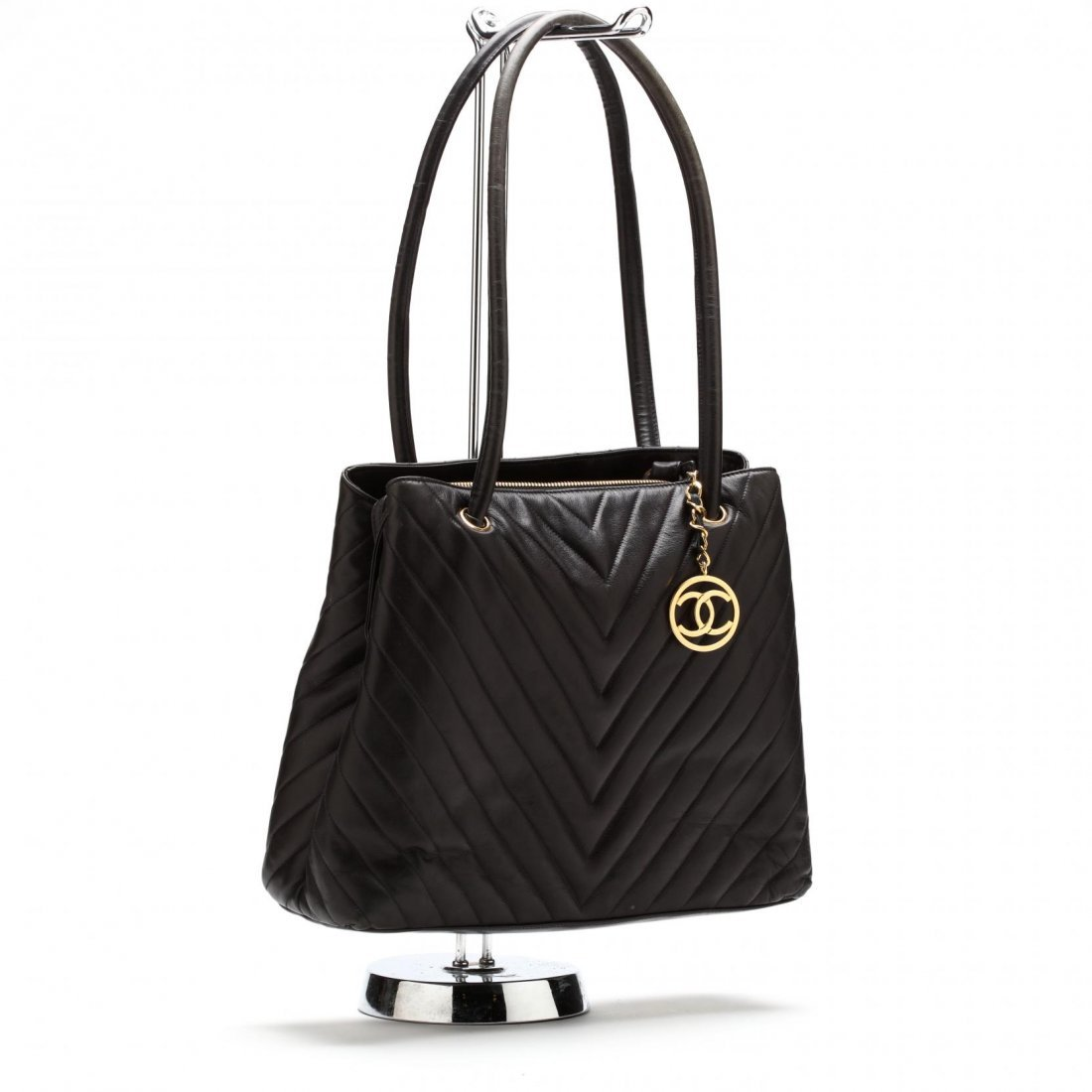 Vintage Lambskin Chevron Handbag, Chanel