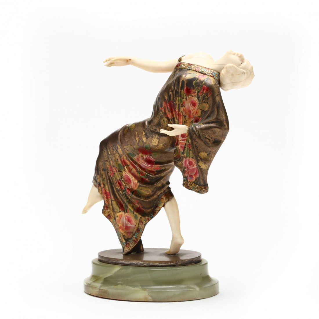 A Theodore Ullmann Cold-Painted Bronze & Ivory Dancer