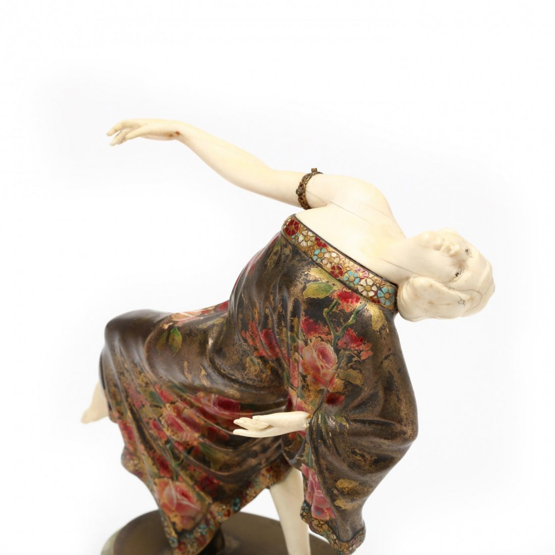 A Theodore Ullmann Cold-Painted Bronze & Ivory Dancer - 2