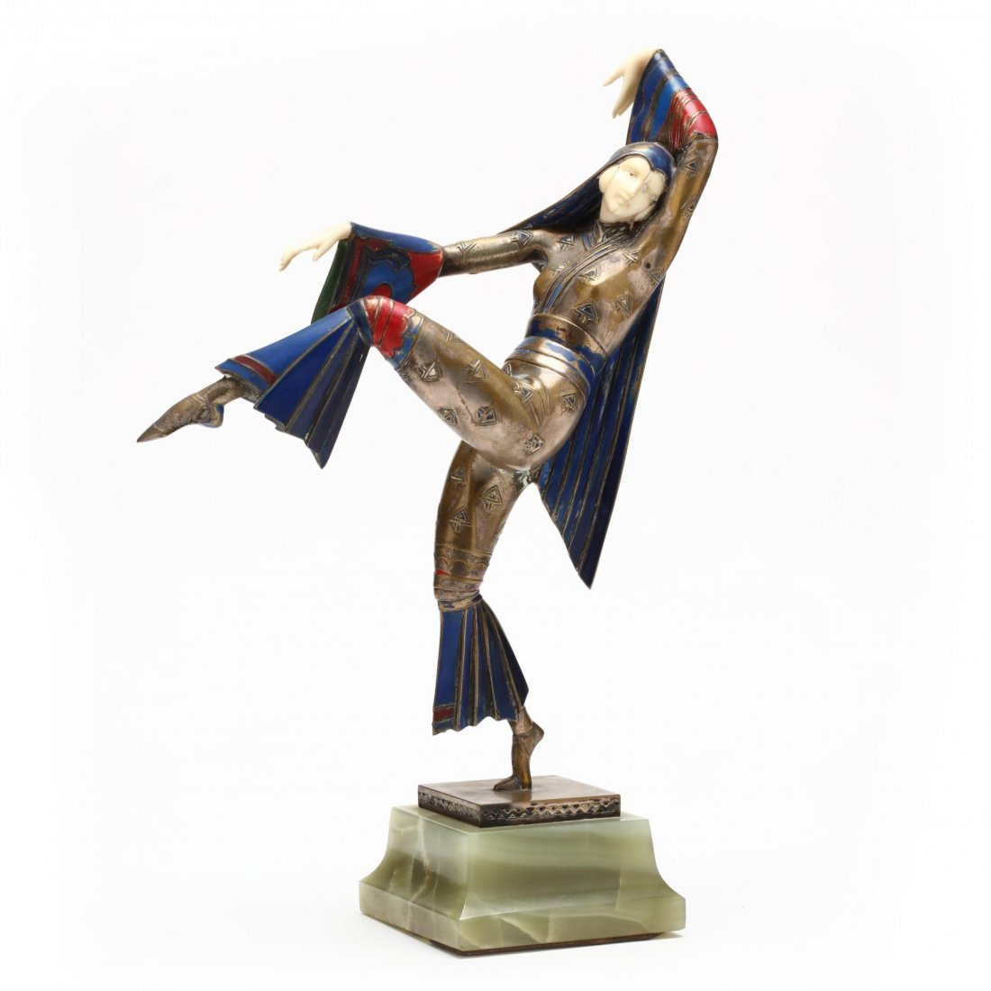 A Gerdago Cold-Painted Bronze & Ivory Dancer