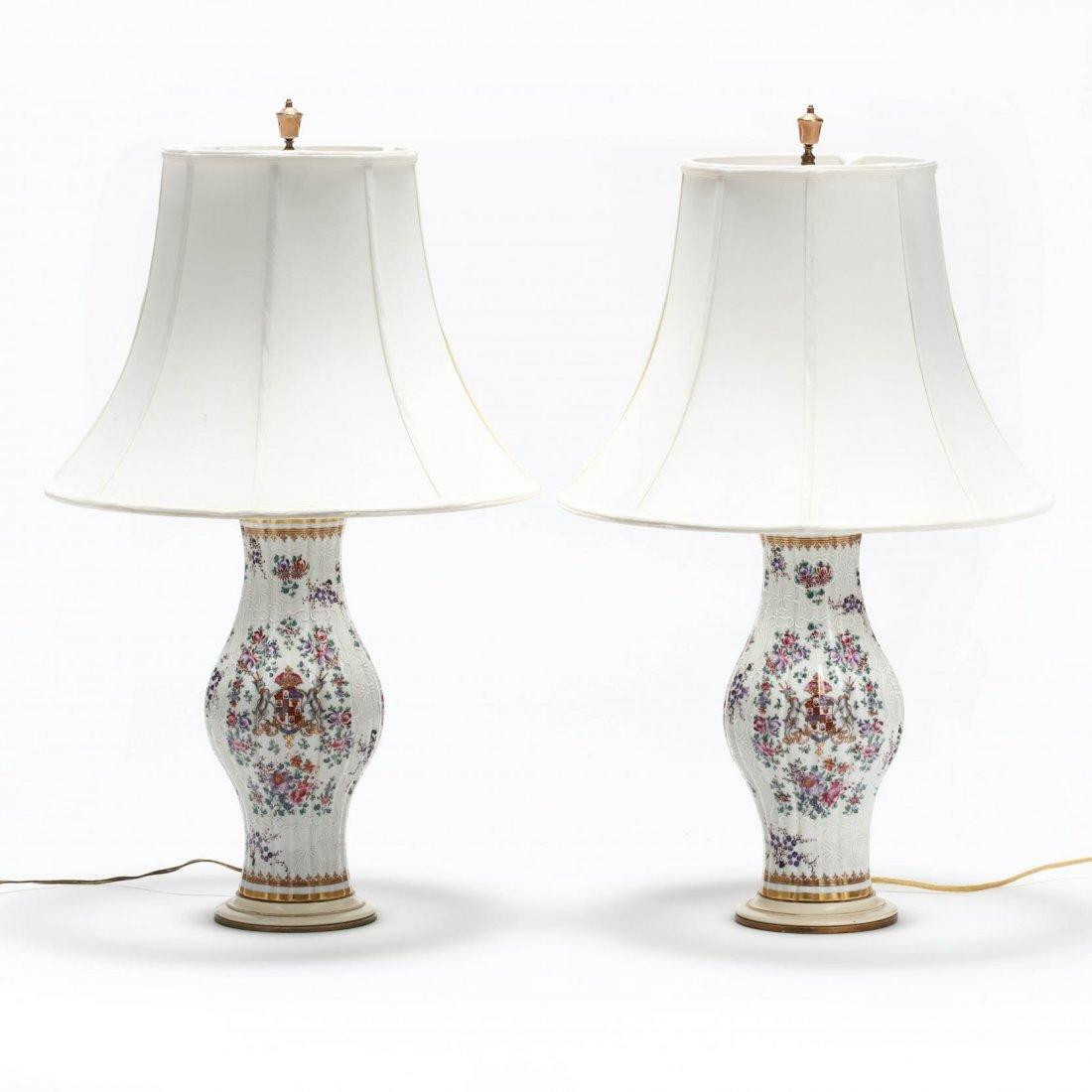 Pair of Samson Porcelain Armorial Table Lamps