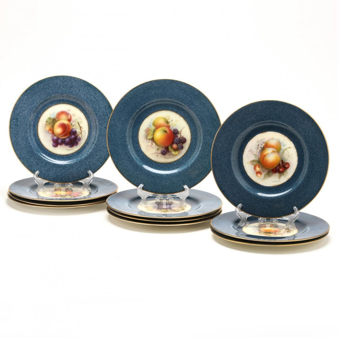 Set of Eleven Royal Worcester Fruit Plates, Richard