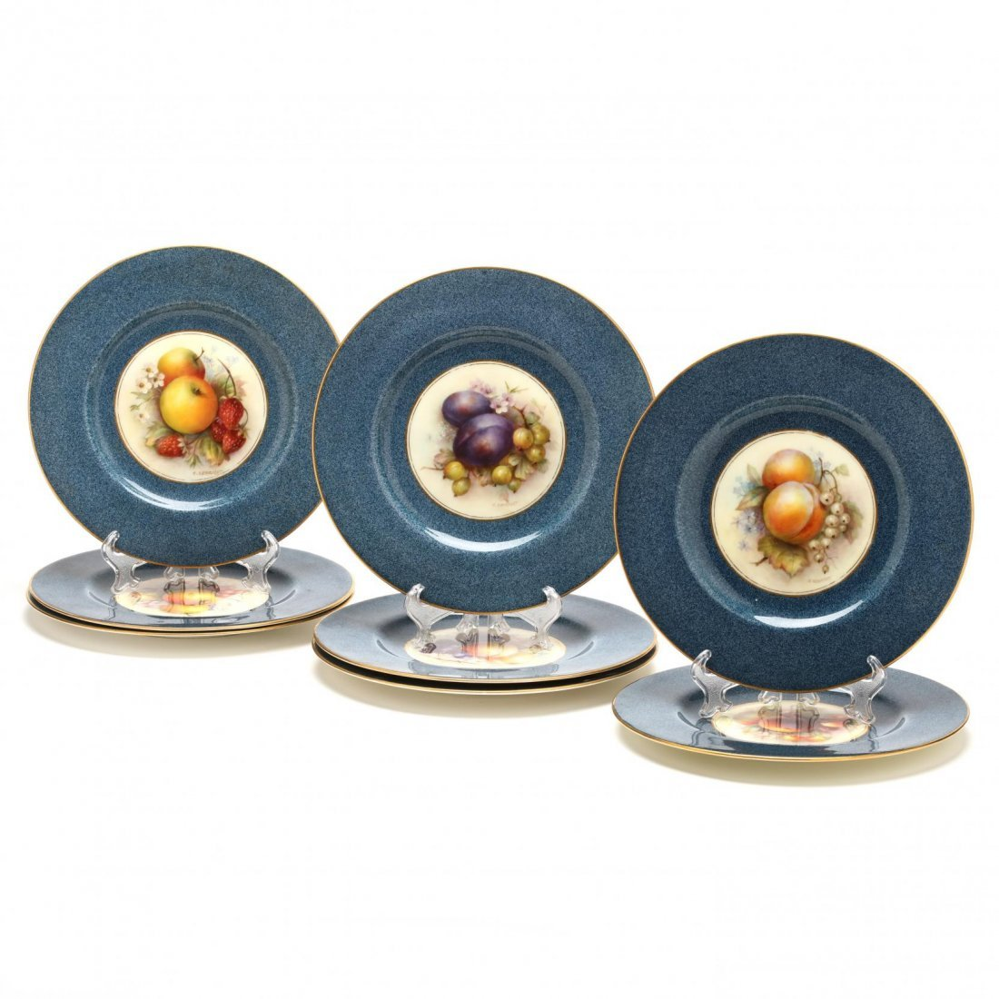 Set of Eleven Royal Worcester Fruit Plates, Richard - 2