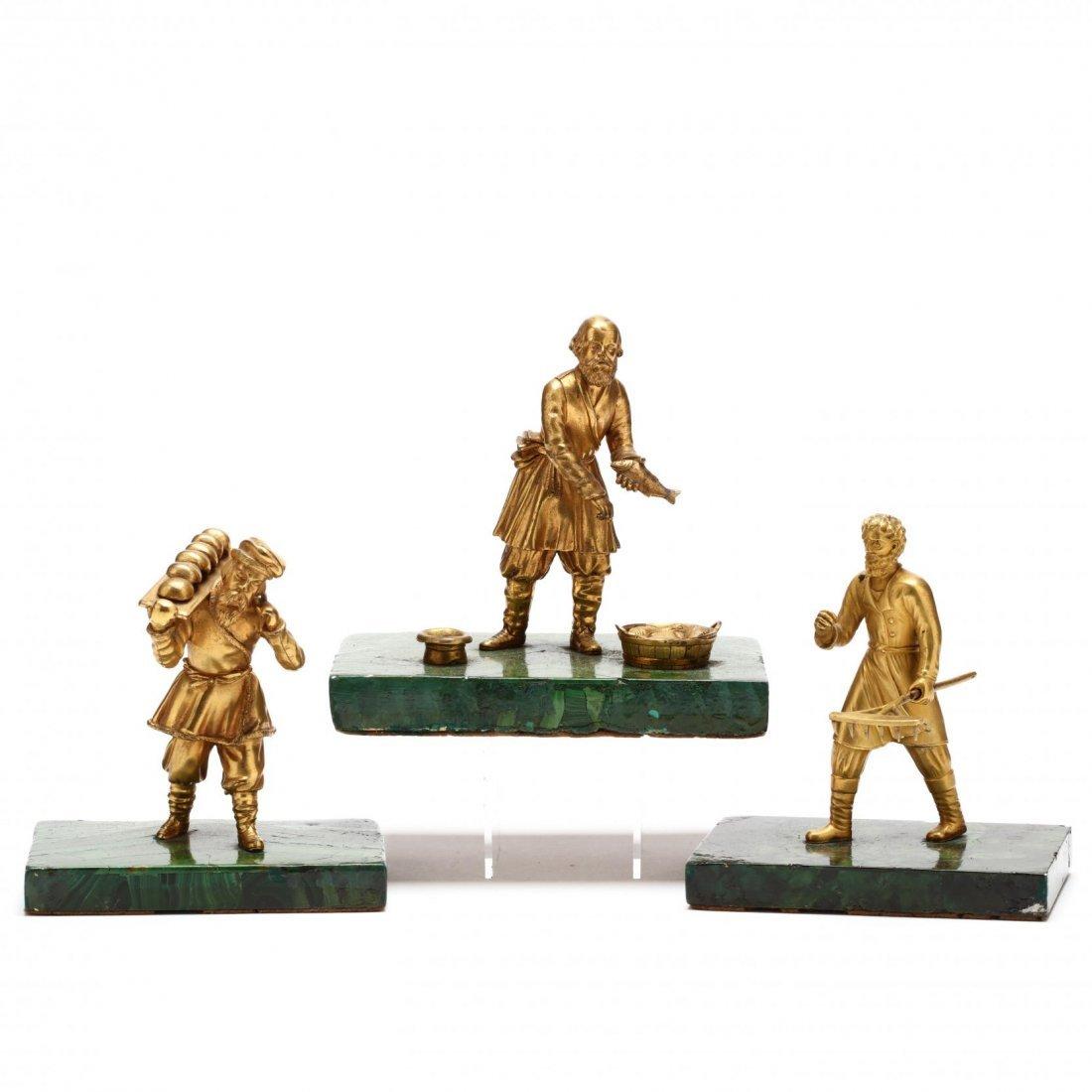 Group of Three Antique Russian Gilt Bronze Figures