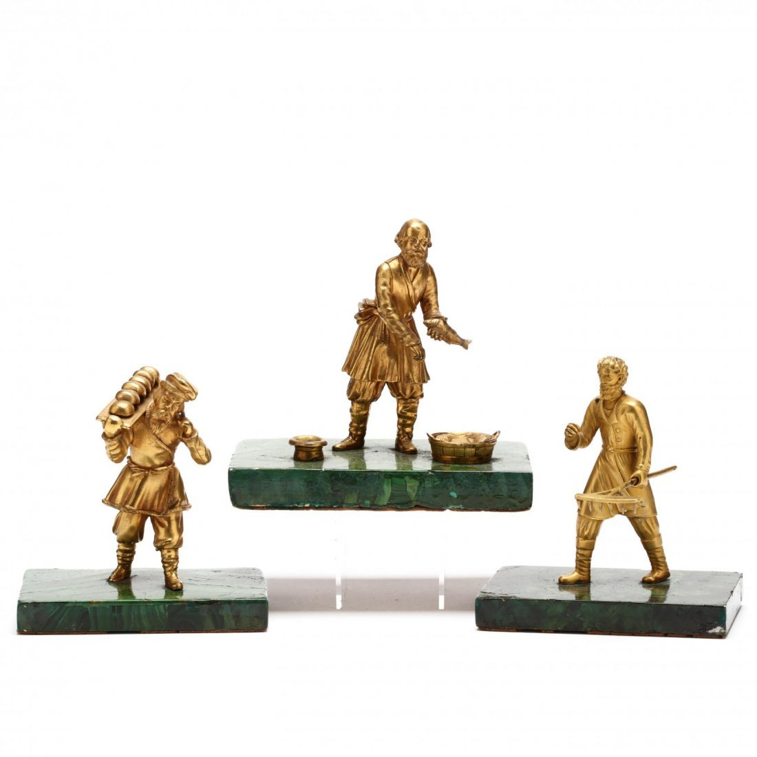 Group of Three Antique Russian Gilt Bronze Figures
