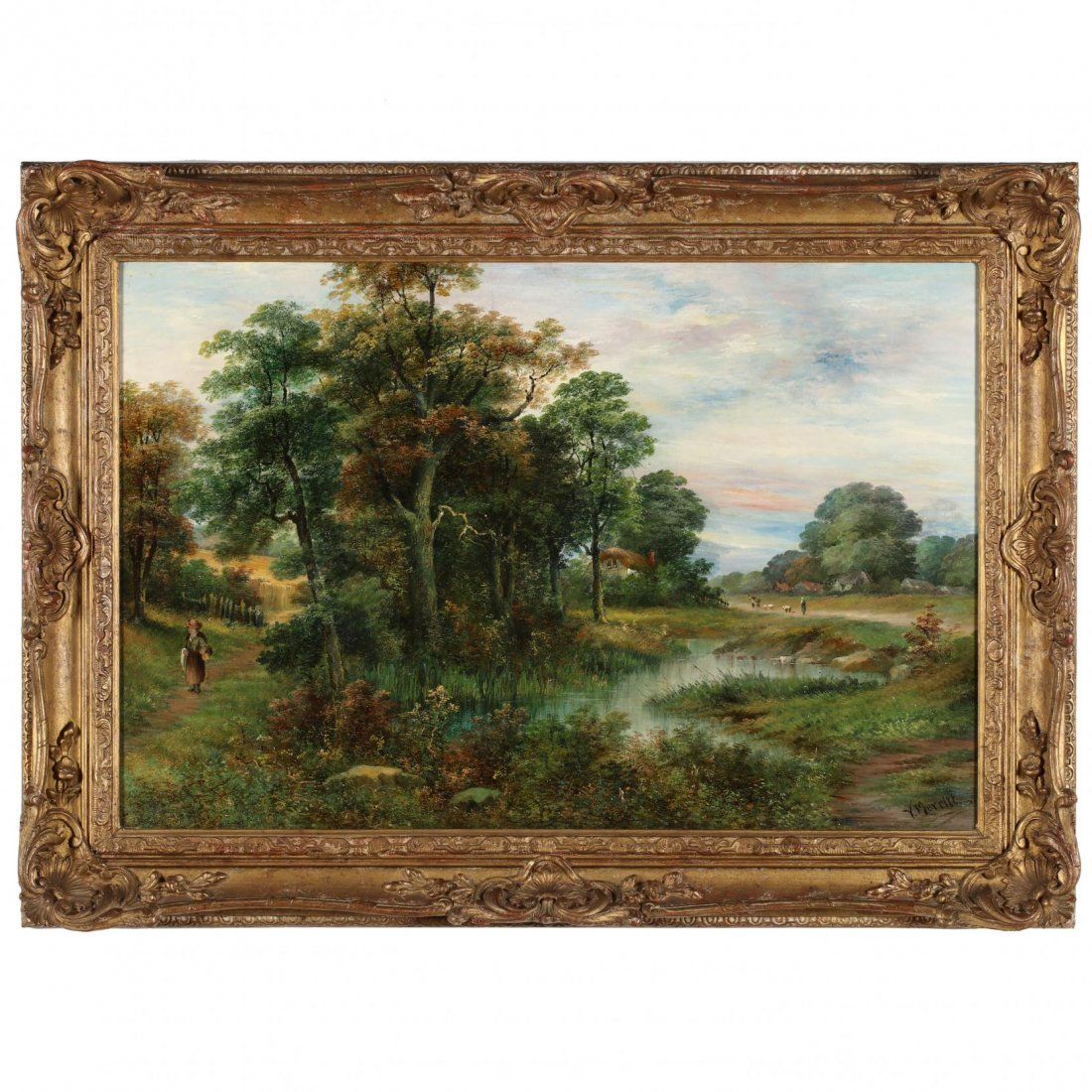 V. Merritt (English, b. 1850), Landscape