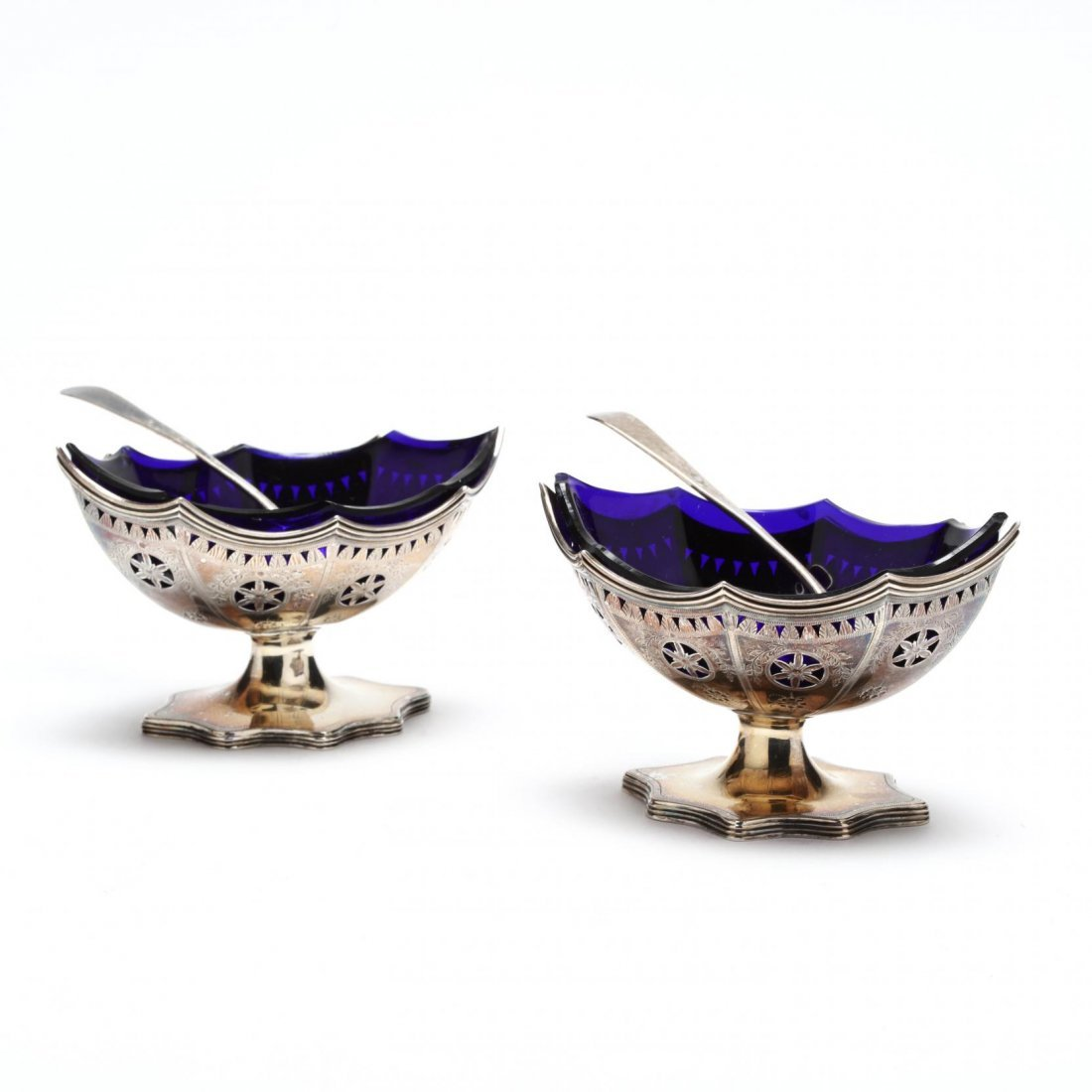 Pair of George III Silver Master Salts, Hester Bateman