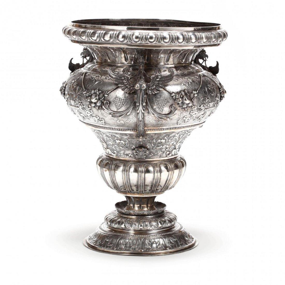 A Palace Size Italian Silver Vase - 5