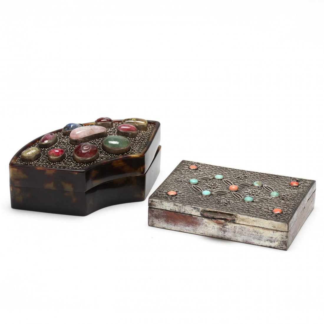 Two Vintage Stone Inlaid Boxes