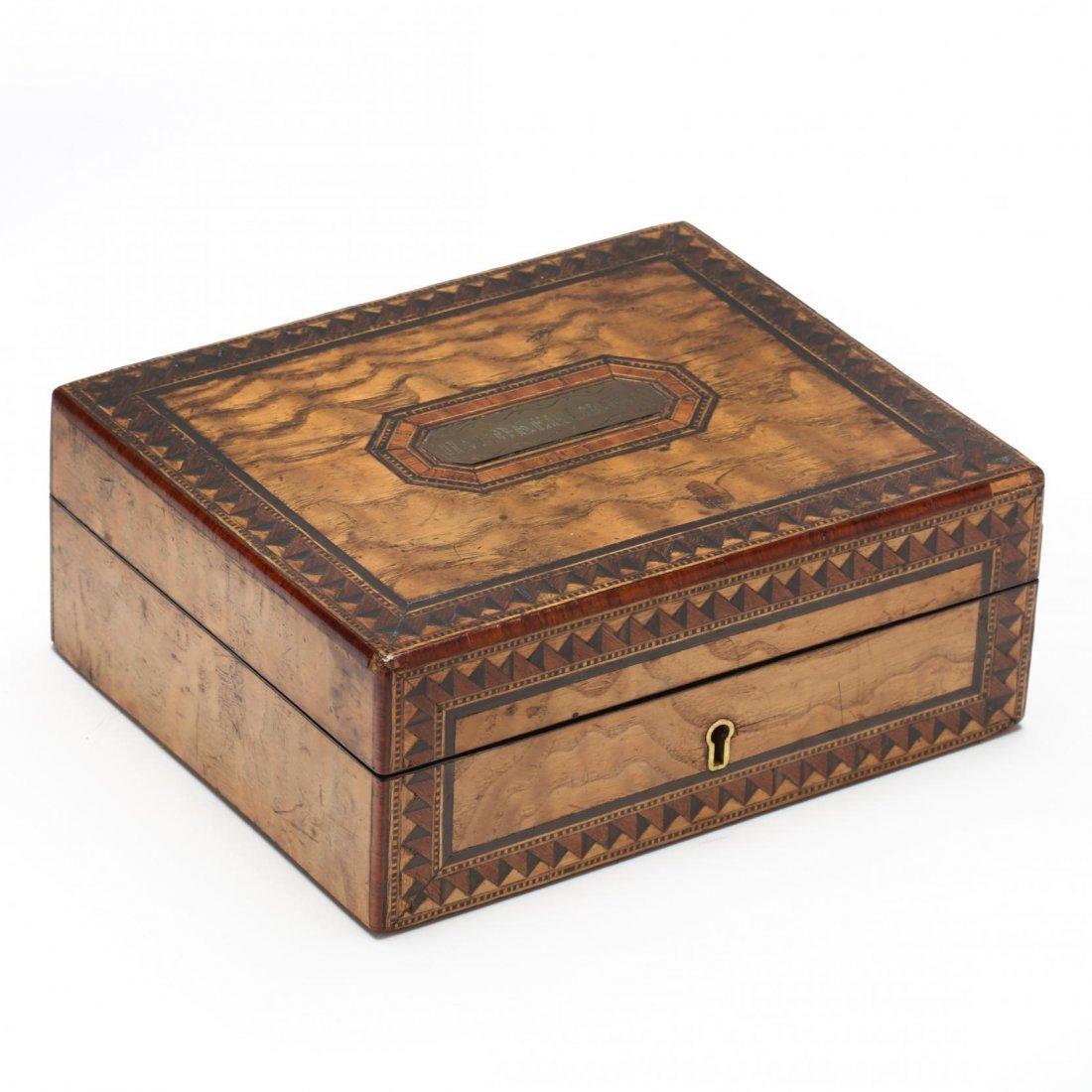 Antique Marquetry Inlaid Handkerchief Box
