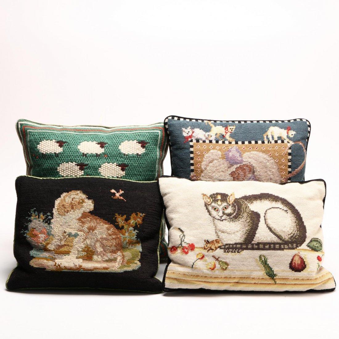 Four Vintage Needlepoint Pillows