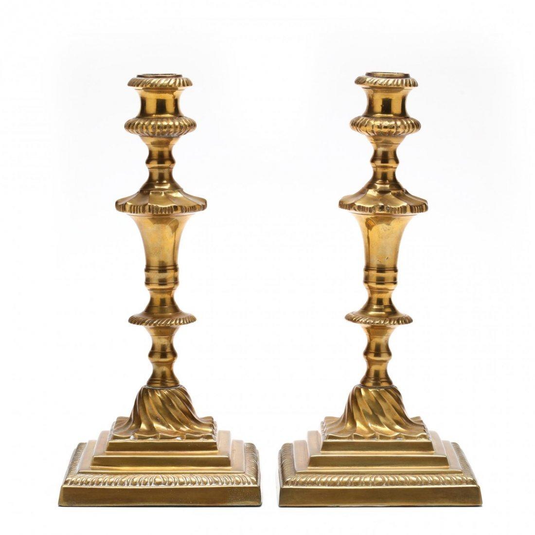 Pair of Cast Brass Candlesticks