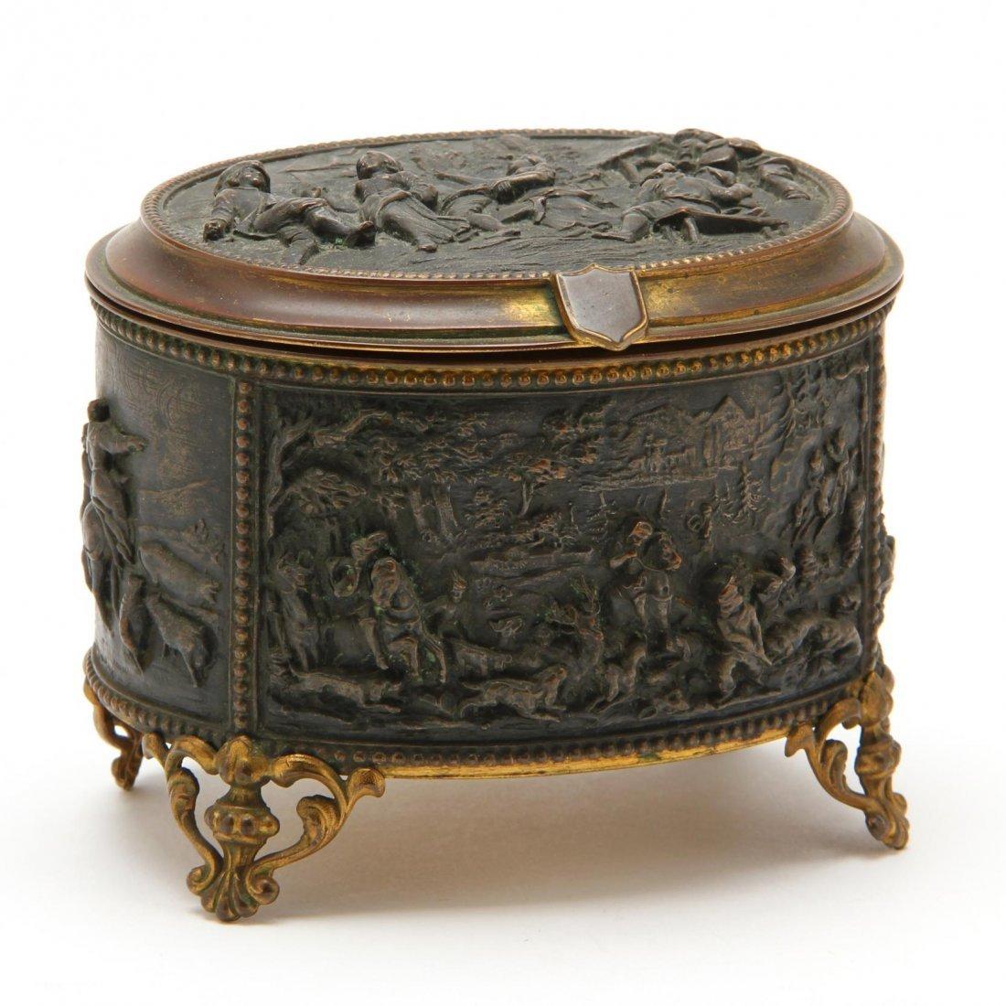 Small French Bronze Jewelry Casket, A.B. Paris