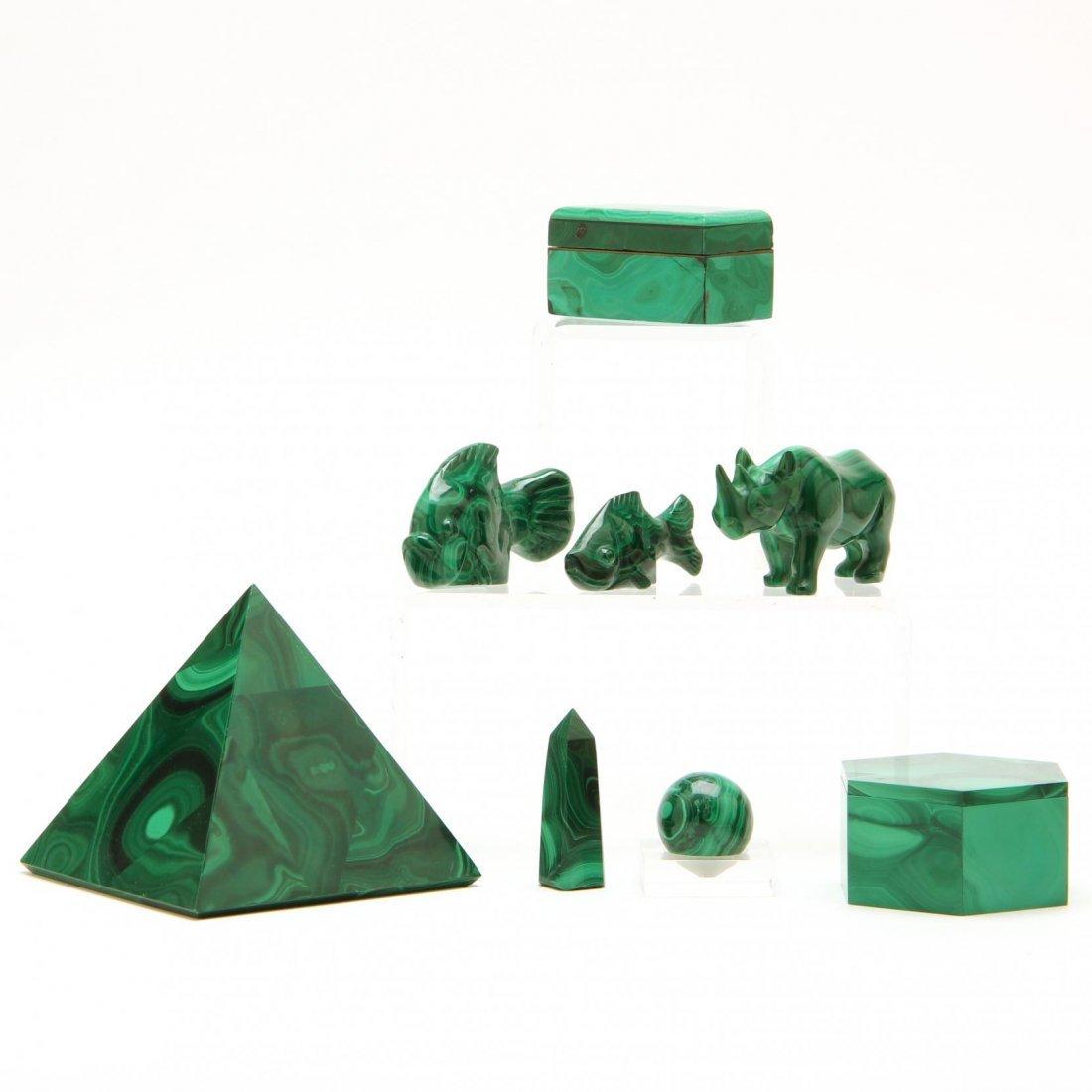 Eight Malachite Objects