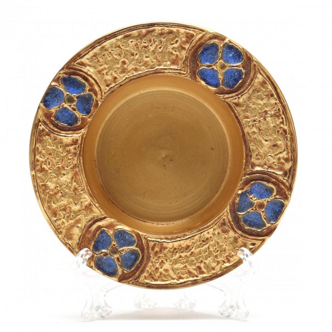 Tiffany Furnaces, Enameled and Gilt Bronze Dish