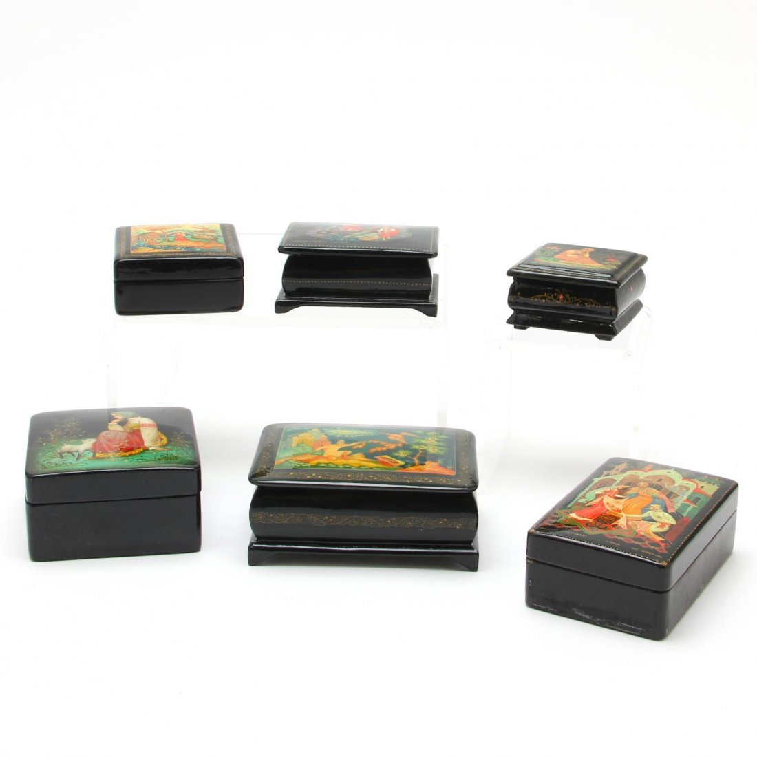 Six Russian Lacquered Boxes