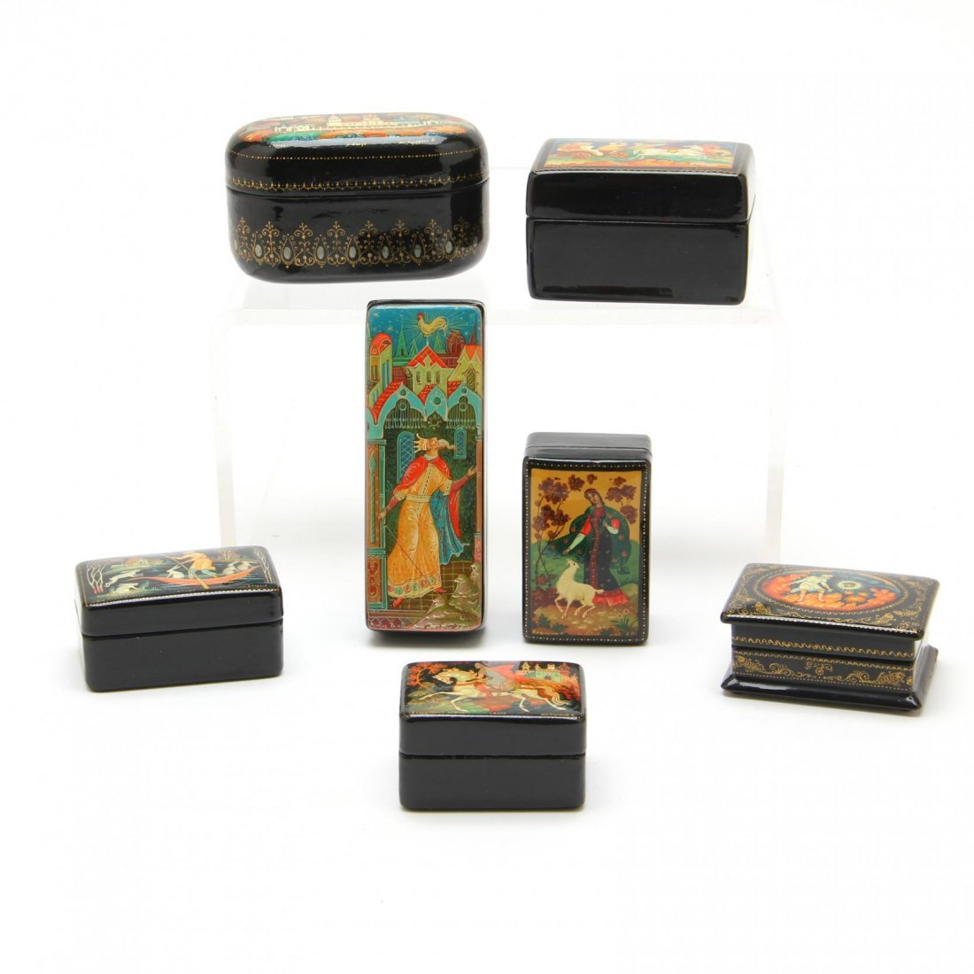 Seven Miniature Russian Lacquered Boxes