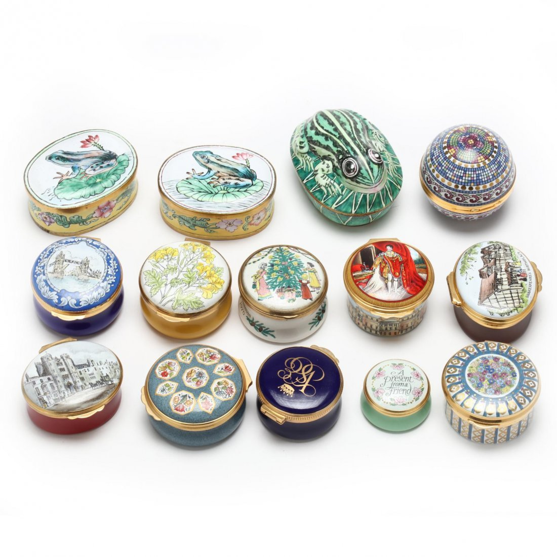 Group of 14 Enameled Boxes