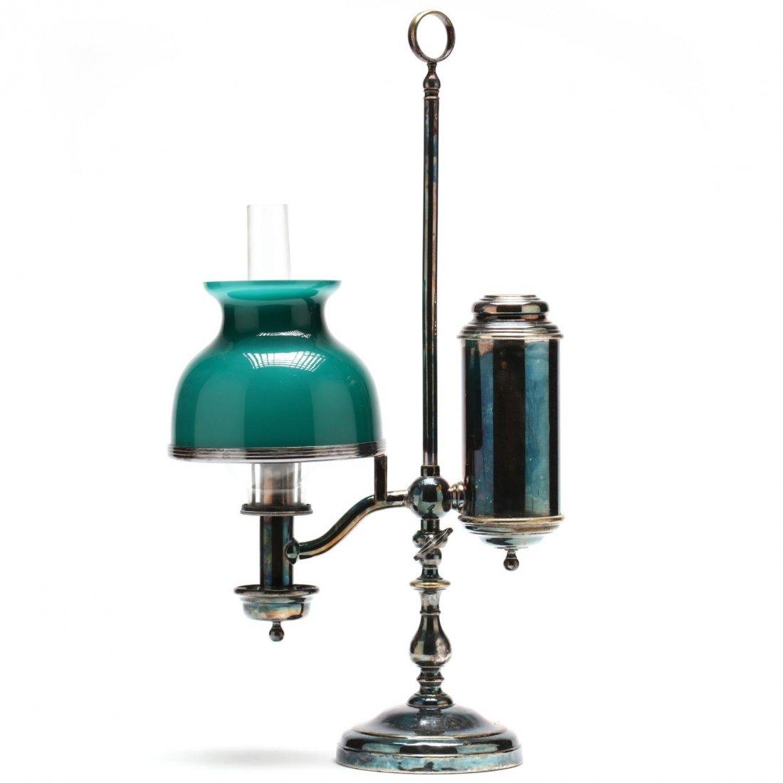 Fine Antique Silverplate Student Lamp