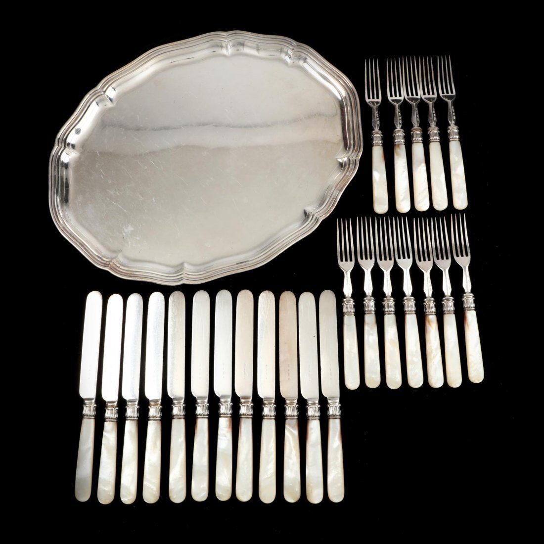 English Fish set and German Silver Tray