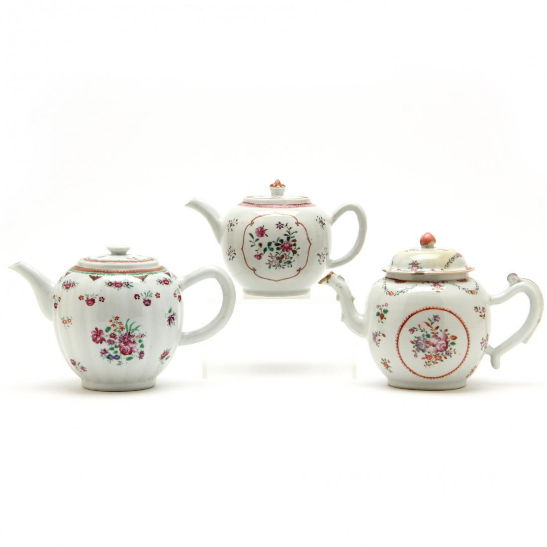 Three Antique Chinese Export Teapots