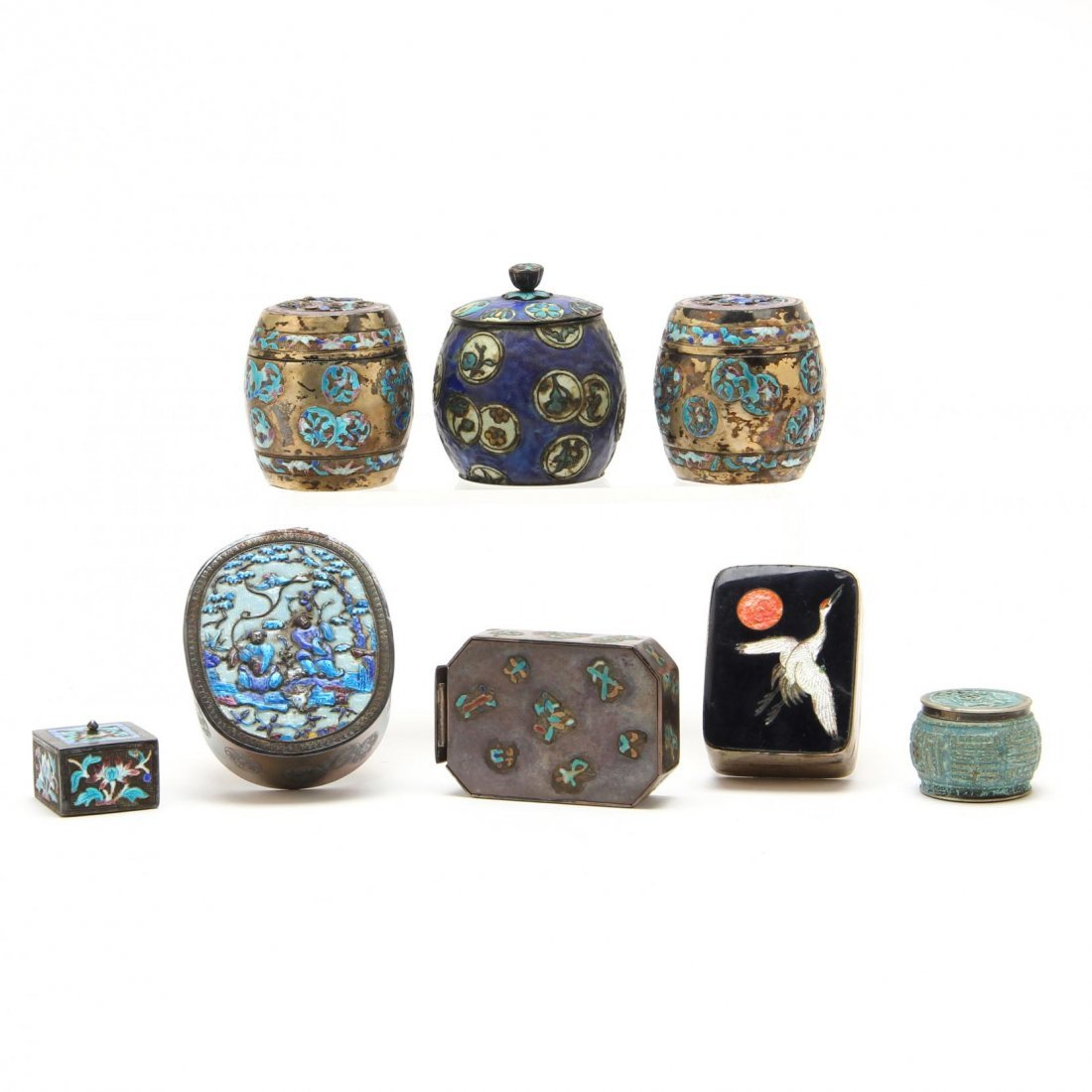 Eight Fine Chinese Silver Boxes