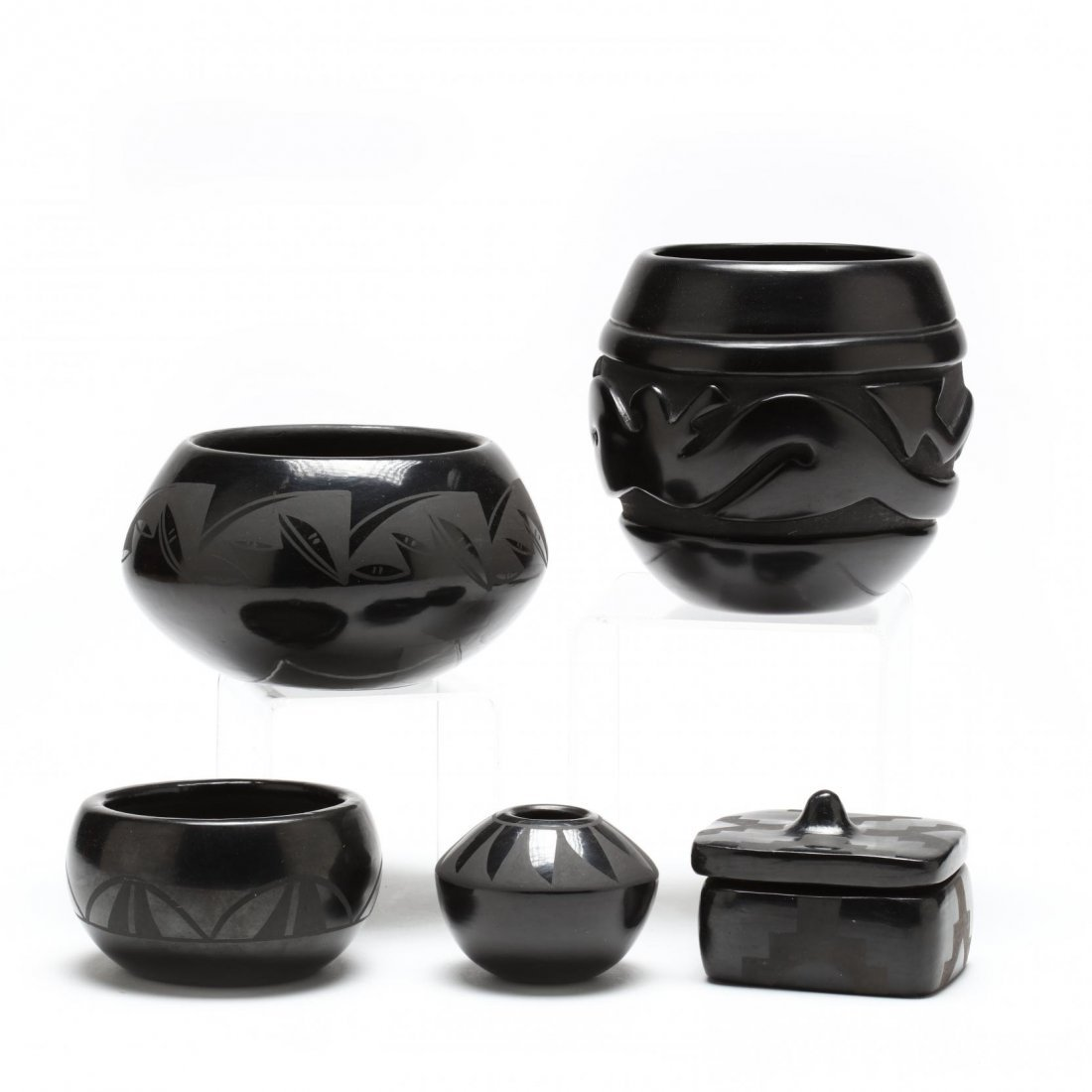 Four Santa Clara Blackware Pieces