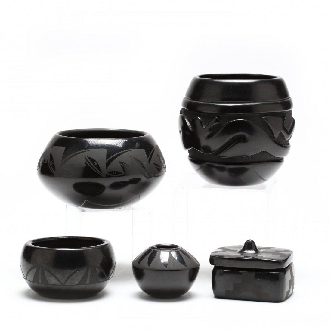 Four Santa Clara Blackware Pieces