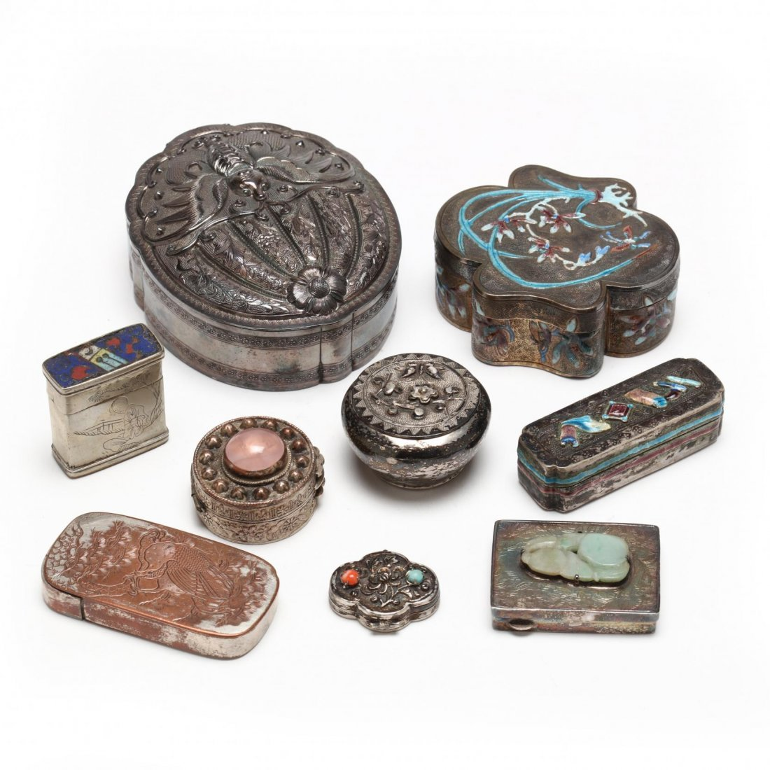Collection of Nine Chinese and Japanese Silver Boxes