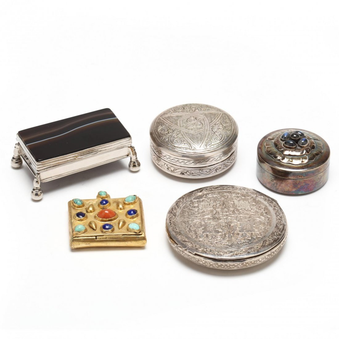 Five 20th Century Silver Boxes