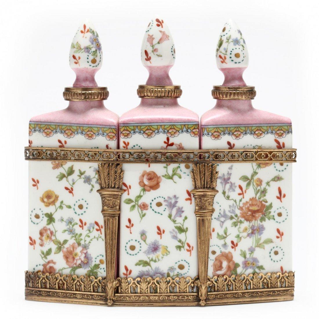French Porcelain Perfume Bottle Set