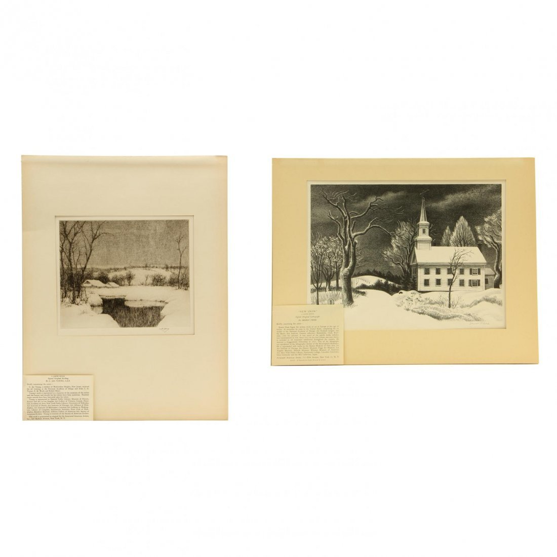 Two Snowy Scenes by Members of Associated American