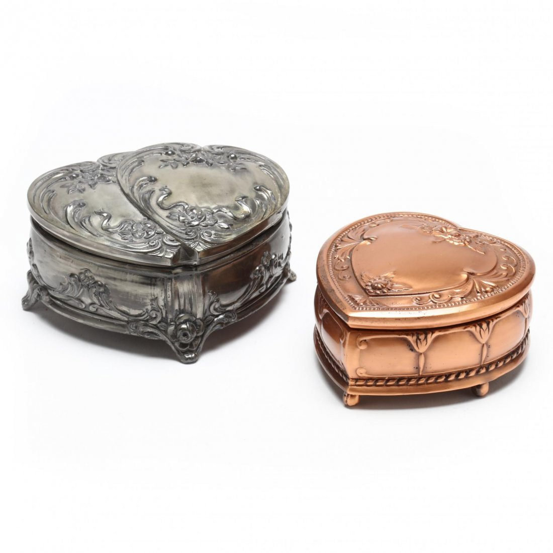 Two Jennings Brothers Heart Shaped Jewelry Boxes