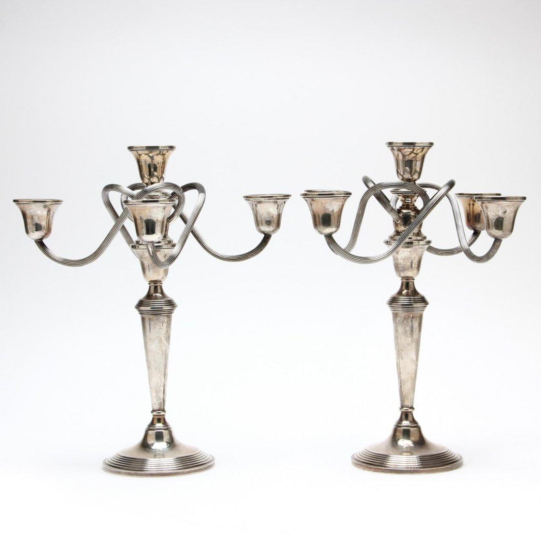 Pair of Sterling Silver Five-Light Candelabra by Crown