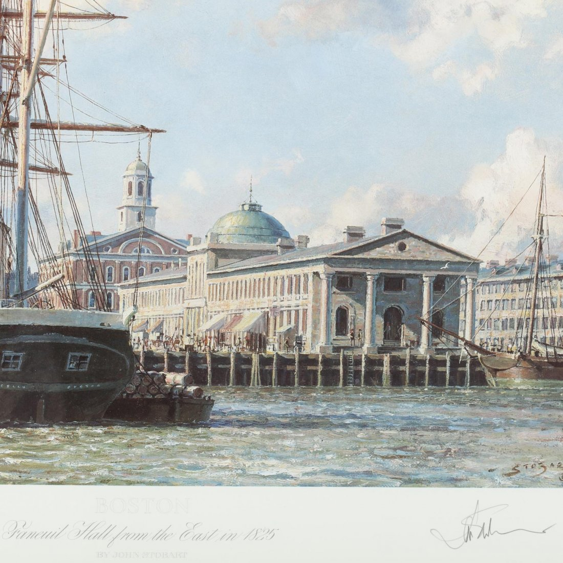 Two Views of Boston after John Stobart (Br./Am., b. - 3