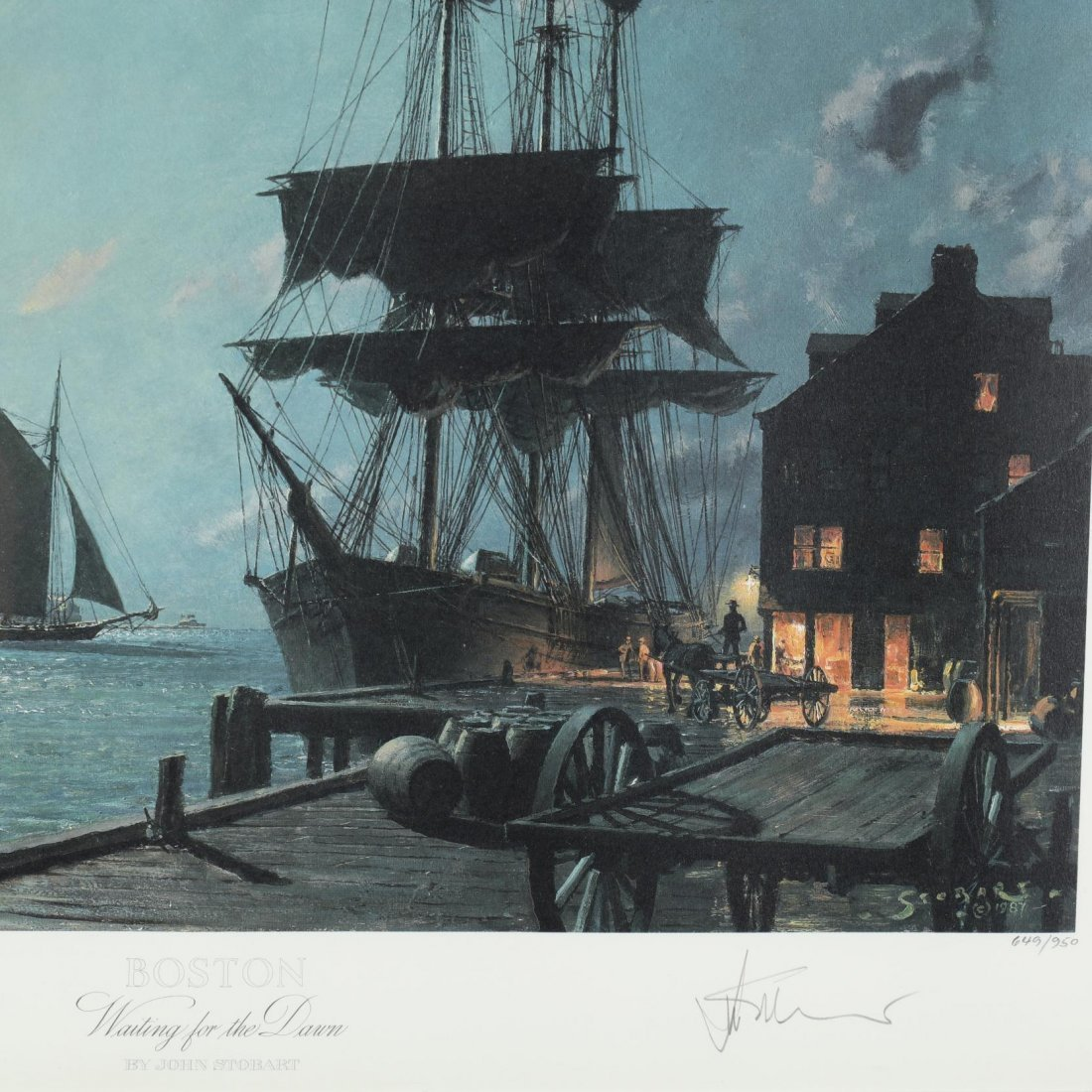 Two Views of Boston after John Stobart (Br./Am., b. - 5