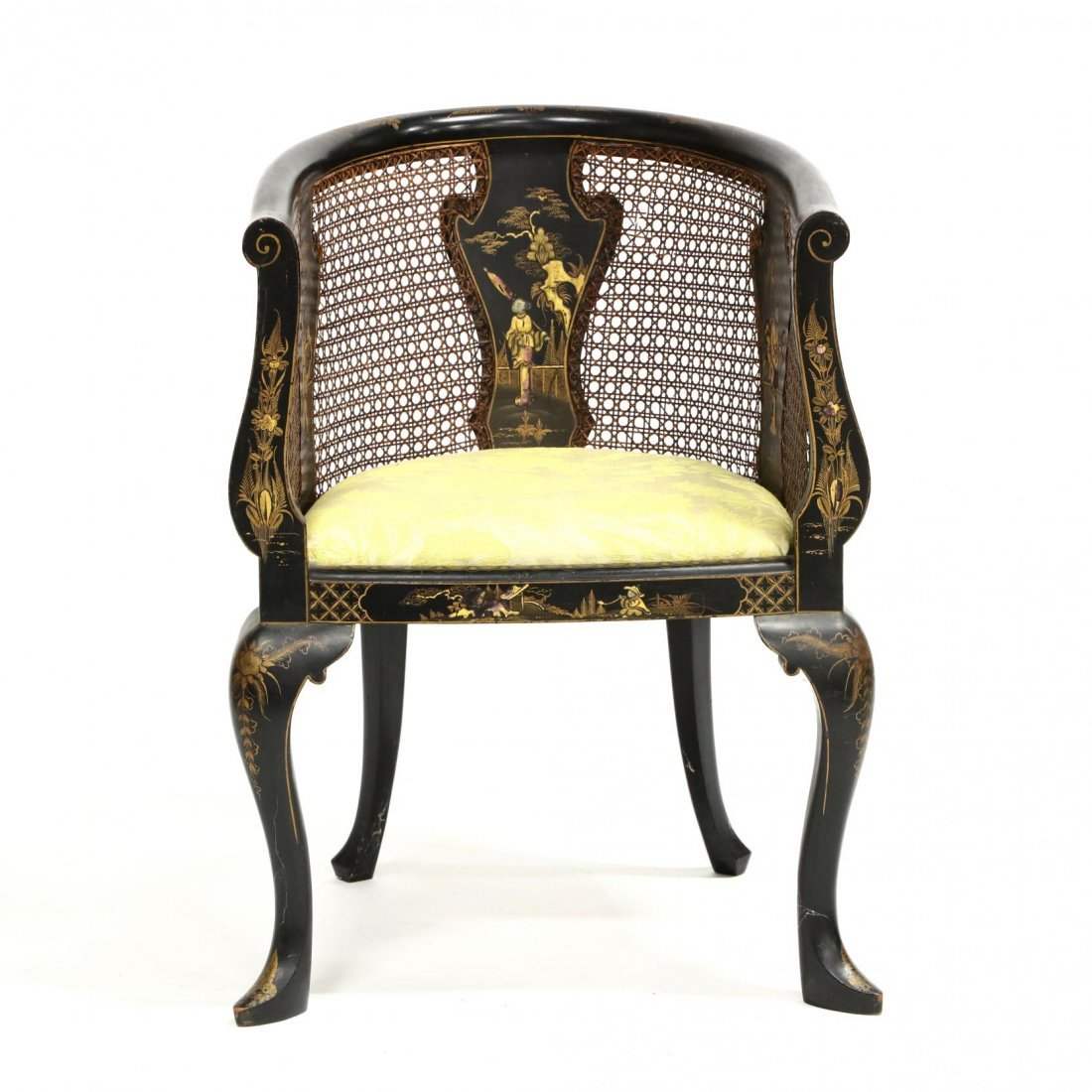 Vintage Chinoiserie Barrel Back Arm Chair