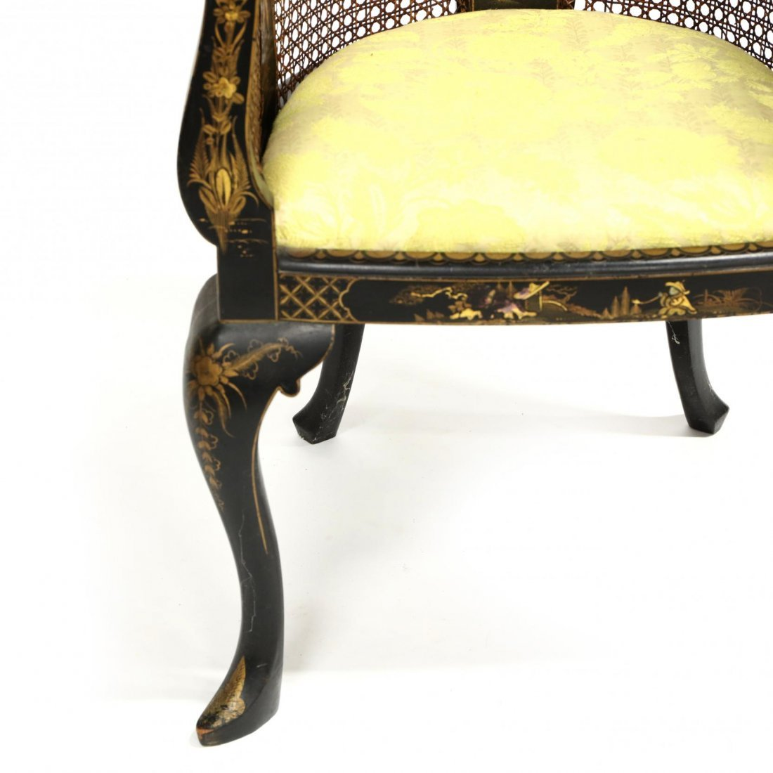Vintage Chinoiserie Barrel Back Arm Chair - 2