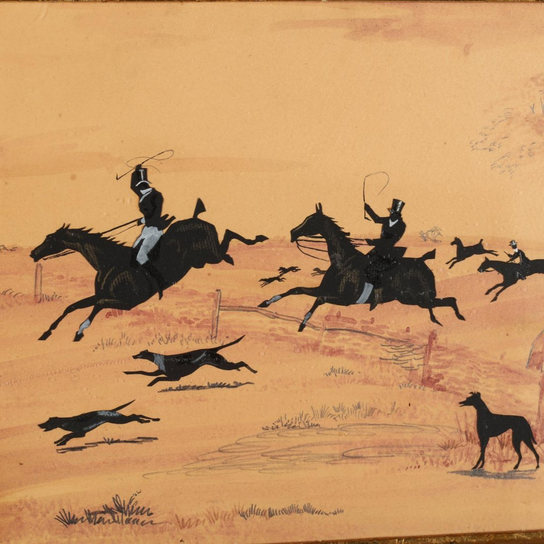 An English Silhouette Picture of a Hunting Party - 2