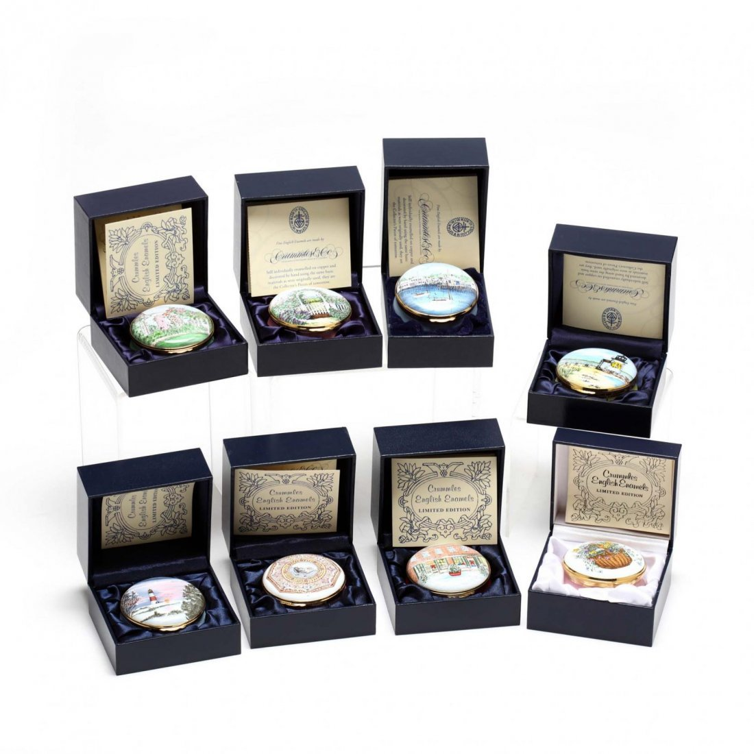Eight Crummles Enameled Trinket Boxes