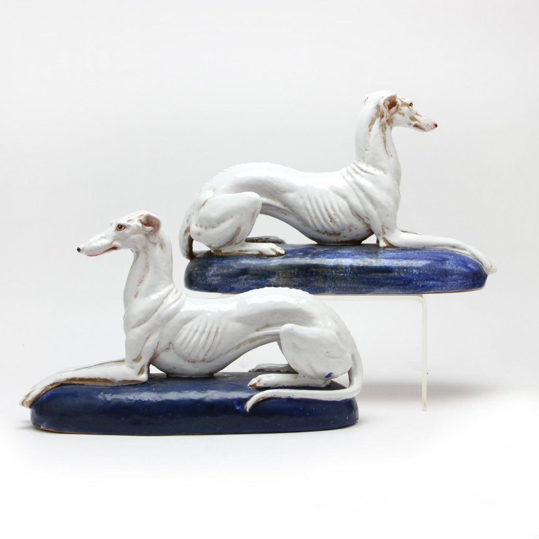 Pair of Italian Majolica Greyhounds