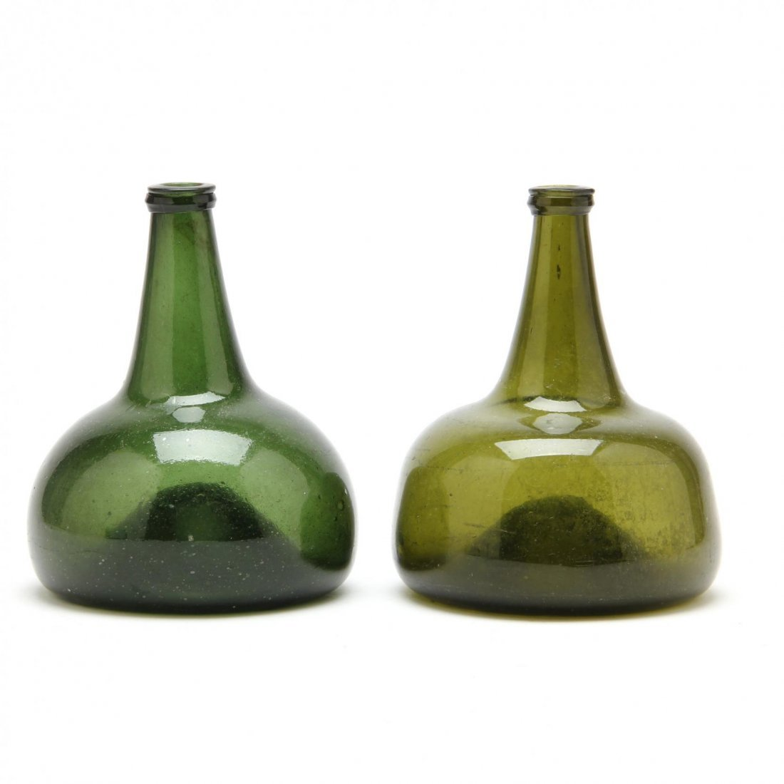 Pair of 18th Century Onion Bottles